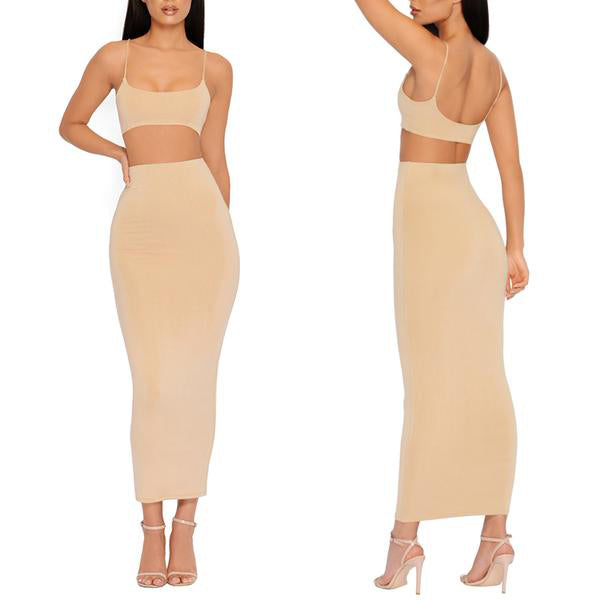 SEXY TWO LAYERS CROP TOP AND MAXI SKIRT TWO PIECES SET