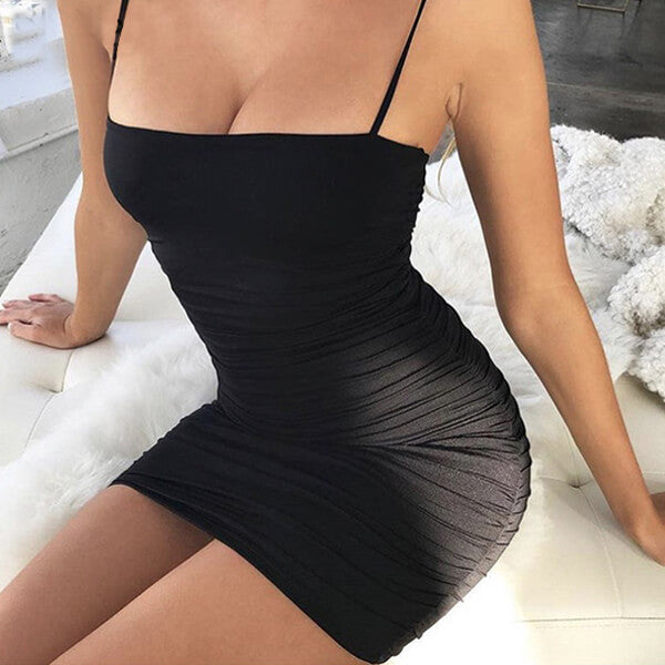 SEXY STRAPLESS WITH SPAGHETTI STRAP DRESS