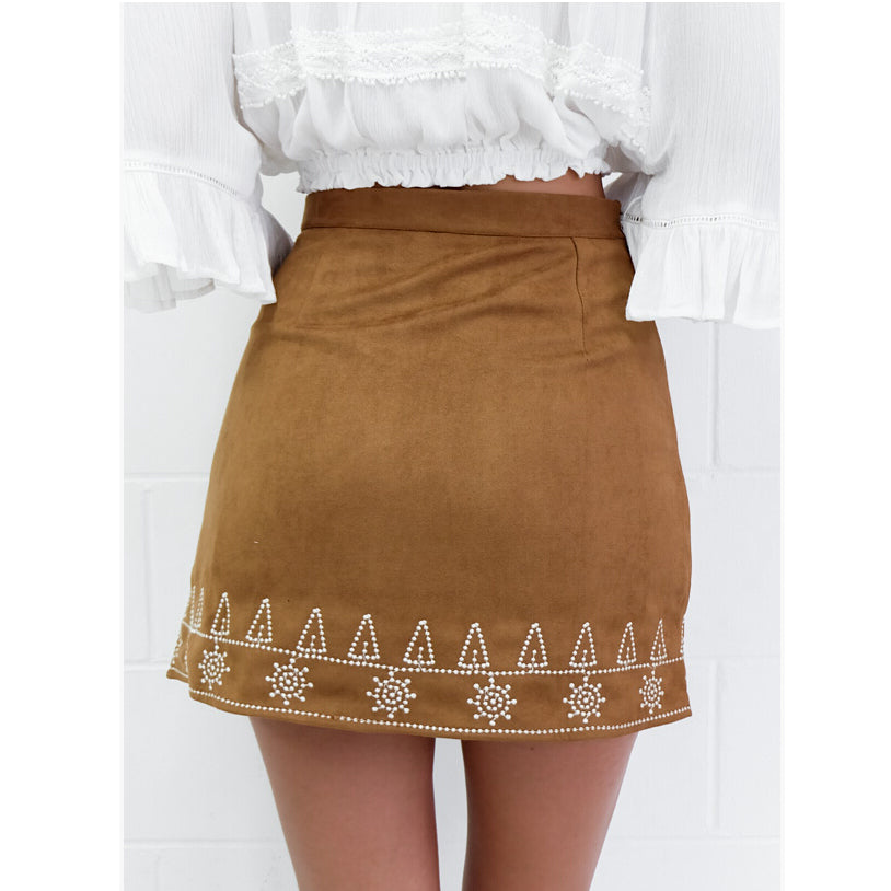 SEXY LEATHER SYMMETRIC EMBROIDERED SUEDE BODYCON WITH HIGH WAIST SKIRT
