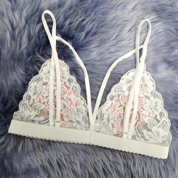 SEXY FLORAL LACE BRALETTE BRALET WITH BUSTIER CROP TOPS SOFT MESH TRIANGLE UNPADDED BRA