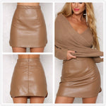 SEXY MINI OL PU LEATHER  VINTAGE A-LINE WITH HIGH WAIST BODYCON SKIRT