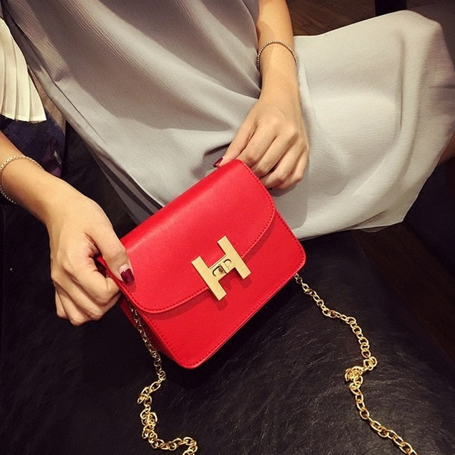 SEXY FLAT SHOULDERBAG RETRO WITH CHAIN BAG