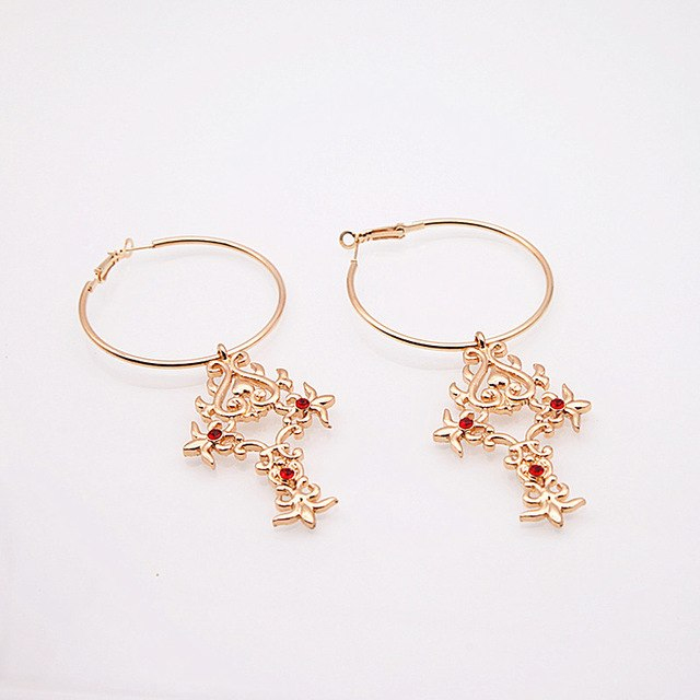 SEXY VINTAGE CRYSTAL ROUND GEOMETRIC WITH RED STONE DECORATION DROP EARRINGS
