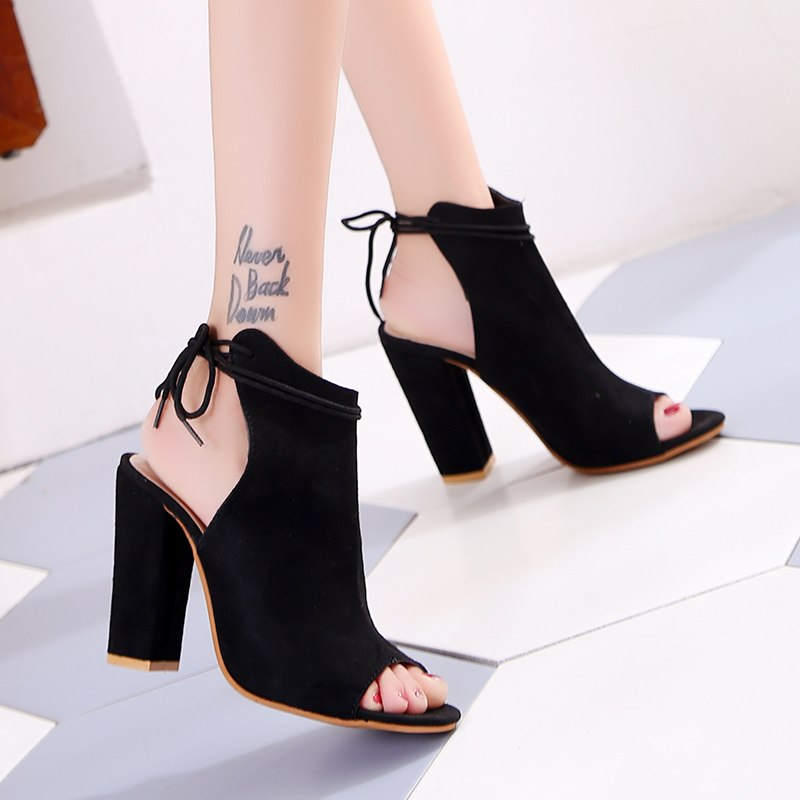 SEXY BLACK PUMPS SANDALS WITH THICK HIGH HEEL ANKLE STRAP AND OPEN TOE SHOES