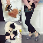 SEXY THICK HIGH HEELS SUEDE BUCKLE COZY SANDALS SHOES
