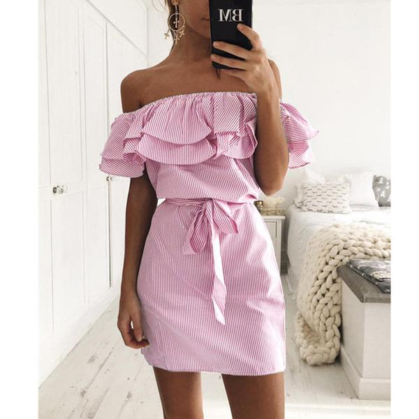 SEXY BEACH PARTY OFF SHOULDE RUFFLES MINI DRESS