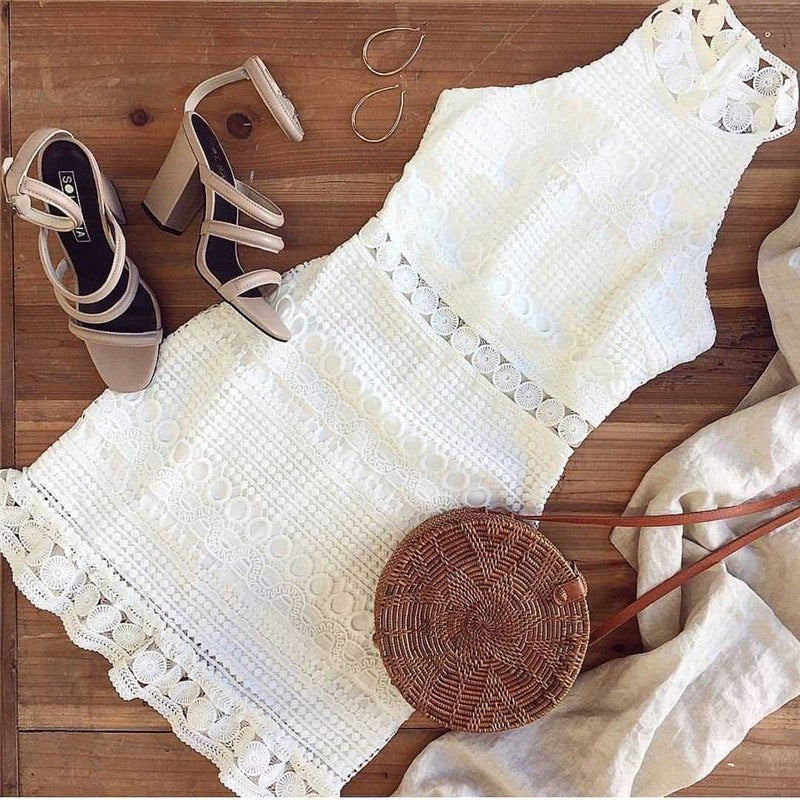 ELEGANT WHITE MINI LACE PATCHWORK DRESS