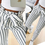 SEXY CASUAL HIGH WAIST WITH WHITE STRIPED BOW TIE SWEET AND ELASTIC WAIST POCKETS PANTS