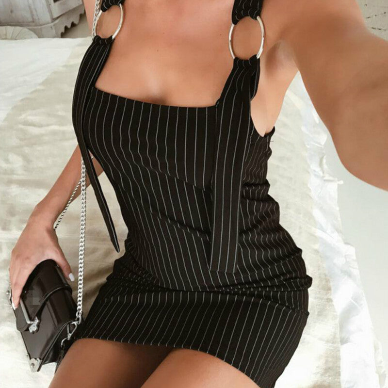 SEXY STRIPED BACKLESS SPAGHETTI STRAP WITH SQUARE COLLAR DRESS
