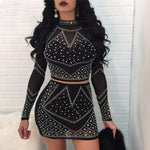 SEXY LACE SEQUINED WITH CROP TOP STRAPS BANDAGE BODYCON TWO PIECES SET