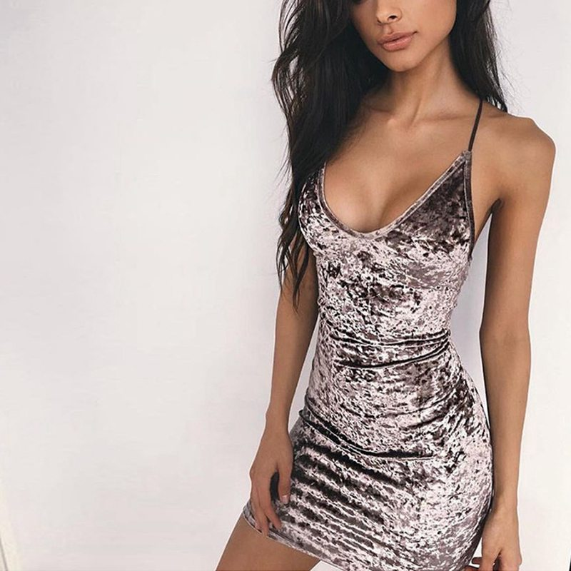 SEXY RETEO VELVET WITH LACE UP PENCIL SKATER BODYCON DRESS