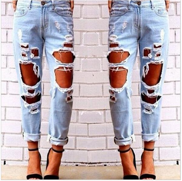 BOYFRIEND FAN HOLE DENIM VINTAGE STRAIGHT JEANS PANTS