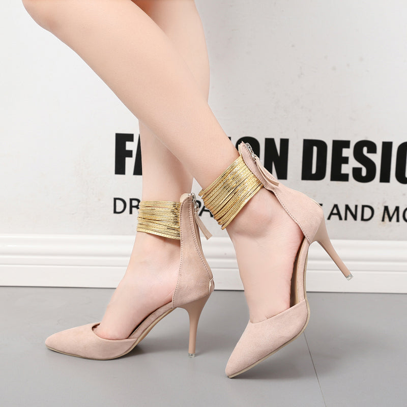 SEXY HIGH HEELS PUMPS WITH BRIGHT ANKLE STRAP AND FLOCK ZIP GOLD POINTED TOE GLADIATOR SHOES