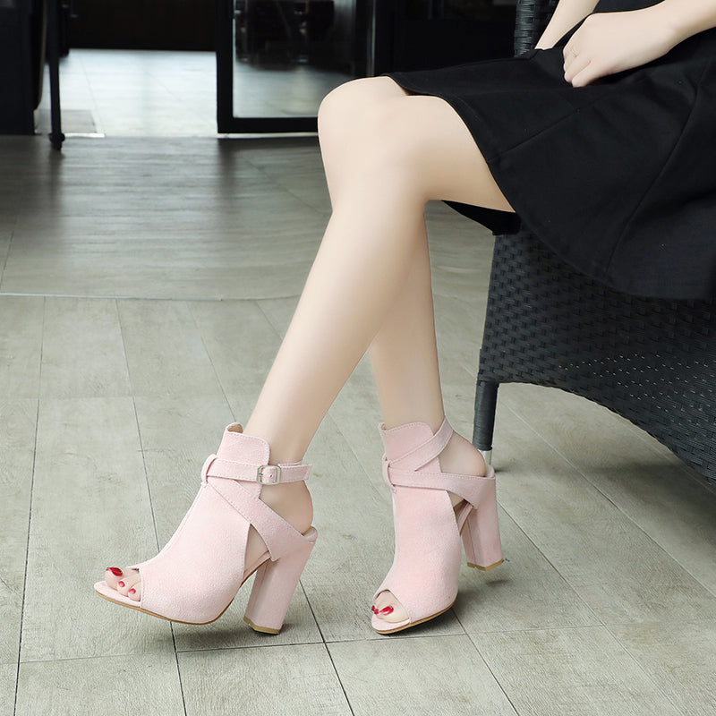 SEXY SANDALS HIGH AND THICK HEELS PUMPS WITH STRAP OPEN TOE SHOES
