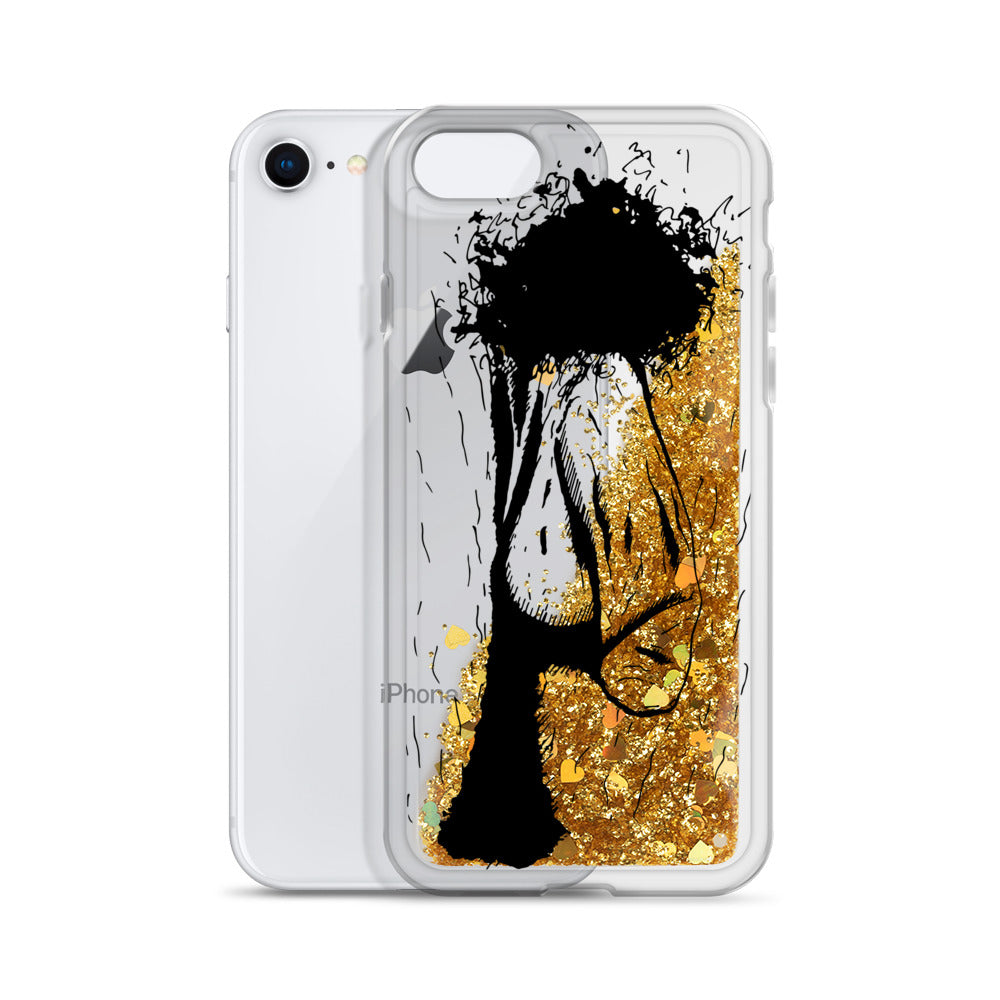 Coque iPhone paillettes - Phallus