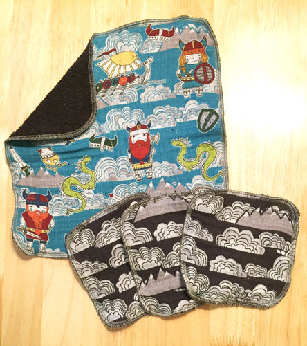 Viking Print Washcloth and Facial Cloth Set - 4 pieces