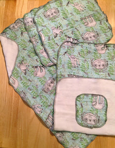 Sloth Print Bath Set - 2 hand towels, 2 washcloths and facial cloth