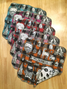 Wilderness Print Set 2 - 5 Reusable Unpaper Towels/Rags/Hankerchiefs