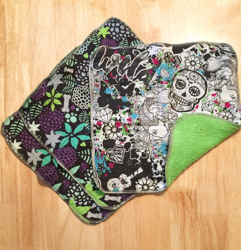Graffiti Skull Print Washcloth Set of 3
