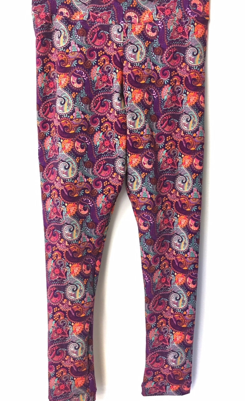 Paisley Boho Print Cotton Lycra Leggings - Size Large