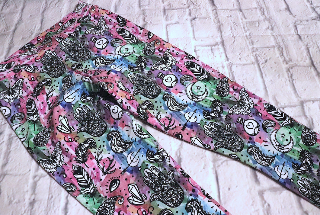 Crystals / New Age Cotton Lycra Leggings - Size Large