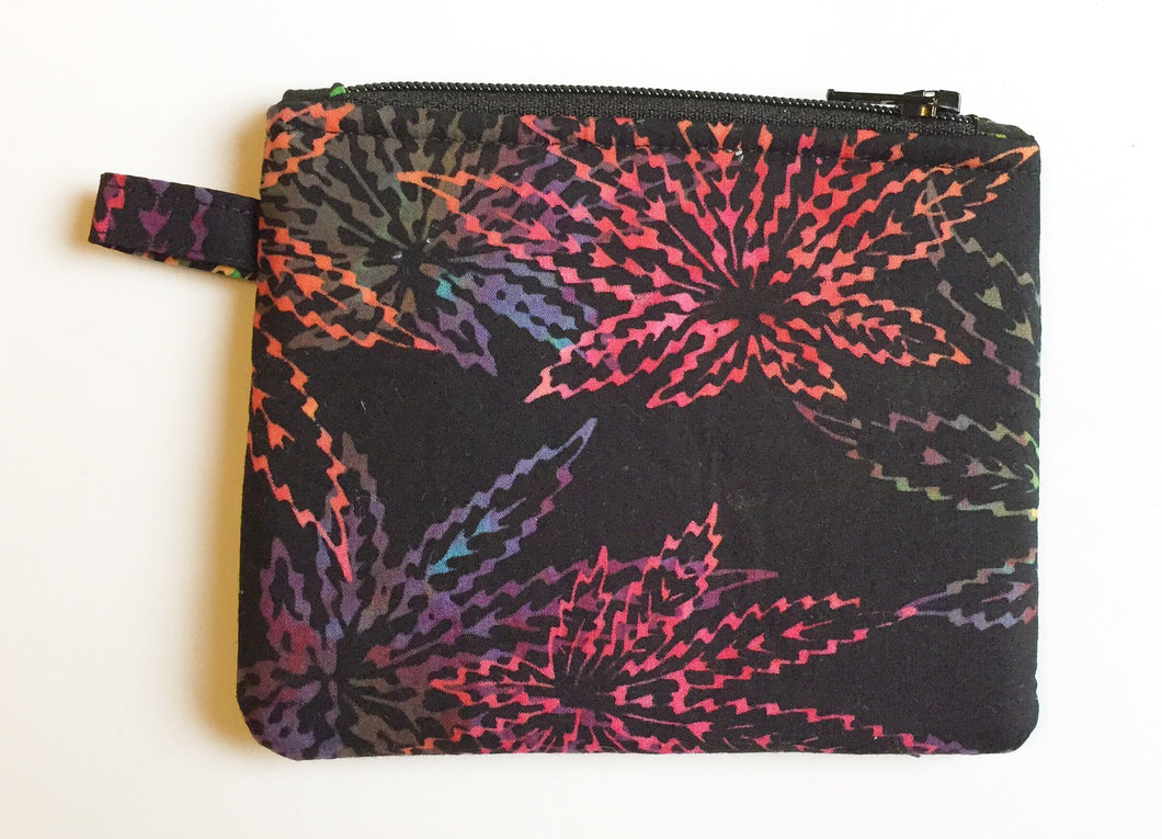 Watercolor Leaf (Black) Padded Accessory Bag