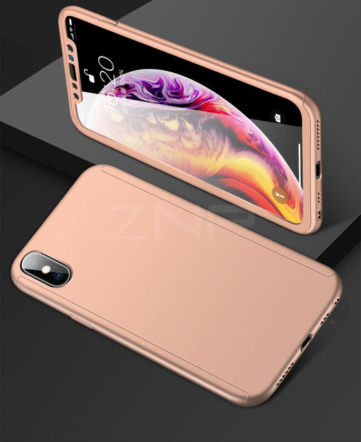 ZNP 360 Full Cover PC Phone Case For iPhone X XR XS MAX Cover Cases With  Tempered Glass For iPhone XS MAX XR 10 X Case Capa