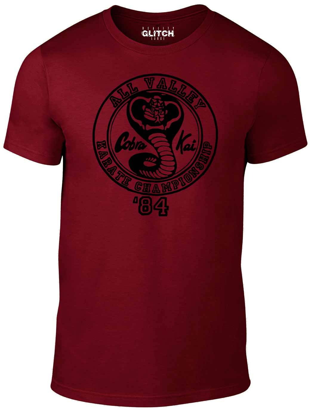 4b33b21e2 ... Men's Burgundy T-Shirt With a Cobra Kai logo from the Karate Kid  Printed Design ...