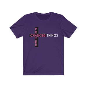 Prayer Changes Things  Unisex Tee // PURPLE PEOPLE T-Shirt