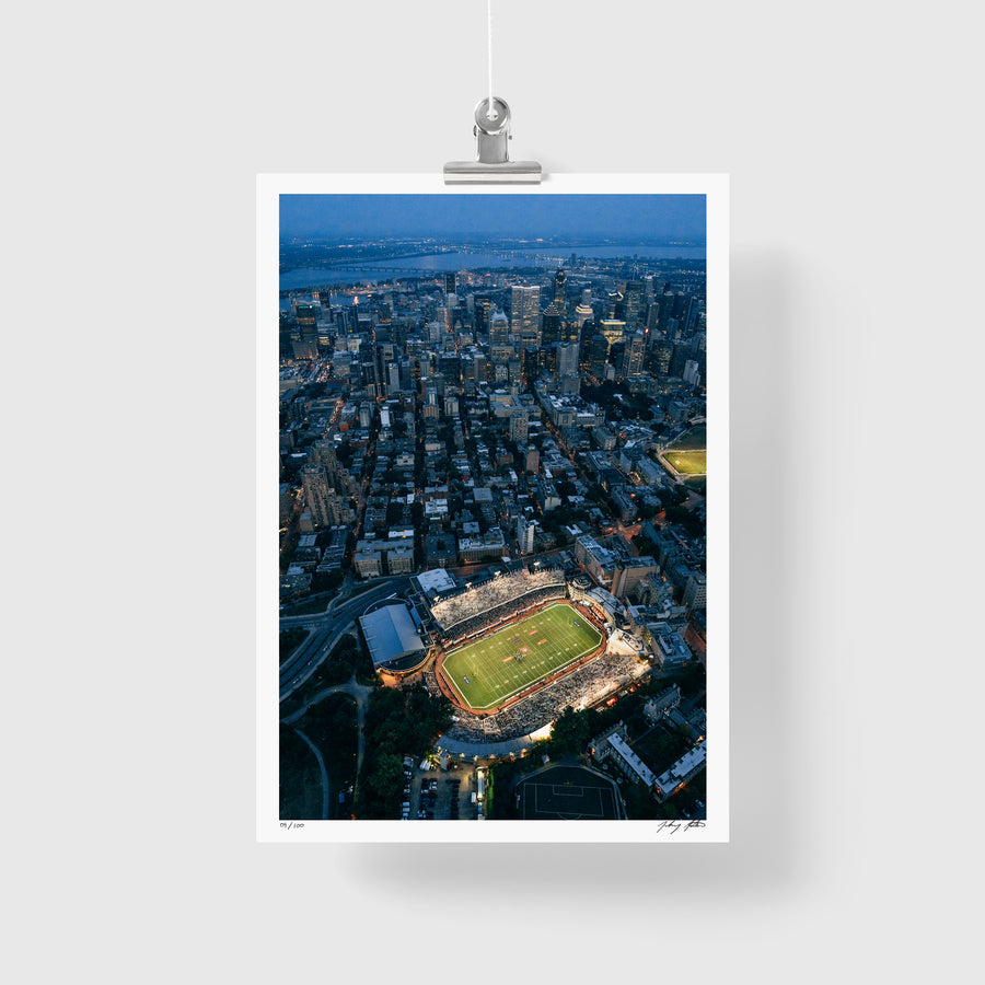 Aerial photo of McGill Stadium Downtown Montreal. (signed+numbered)