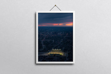 13 x 19 HAMILTON AERIAL VIEW OF TIM HORTONS FIELD AT SUNSET