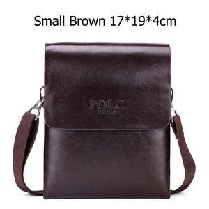 VICUNA POLO Double Pocket Soft Leather Men Messenger Bag
