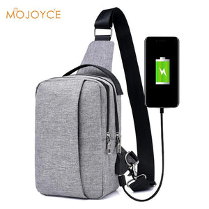 Men Travel Chest Bag with External USB Charge - Crossbody Antitheft Casual Sling Bag for Ipad and Phone