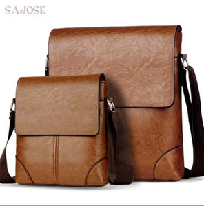 Set of 2 Crossbody Men Messenger pu Leather Shoulder bags