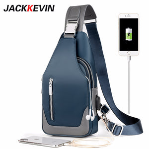Men Messenger Crossbody Oxford Cloth bag - USB charging