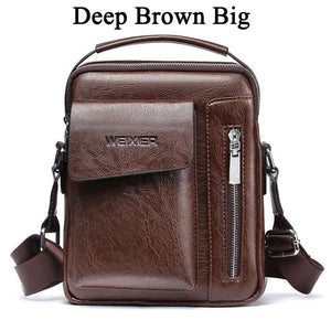 WEXER Crossbody Men Messenger Leather Handbag/Shoulder Bag