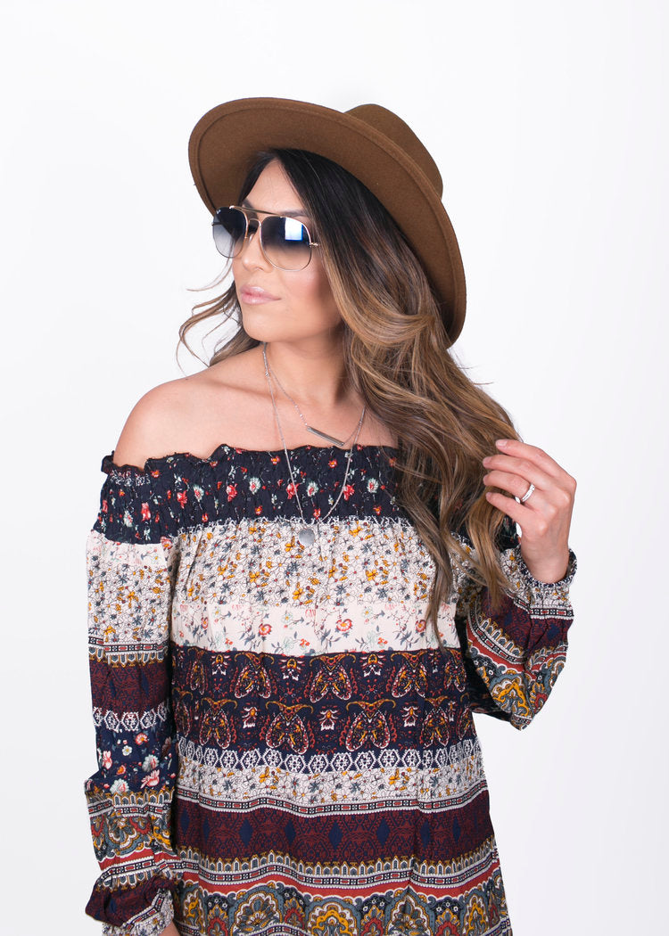 Paisley Off The Shoulder Dress
