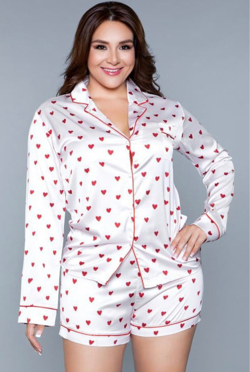 Satin Heart Short Set Pajamas
