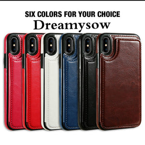 Card Slot Holder Cover Case For iPhone 8 7 6 6S Plus X 10 XS SE 5S 5 For Samsung Note8 S8 Plus S7 Edge Luxury Retro Leather Bag