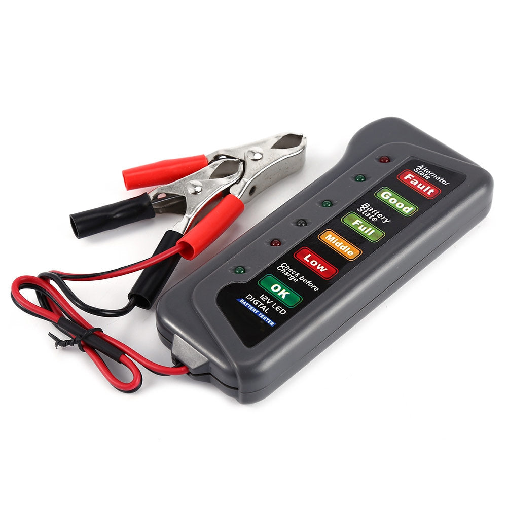 T16897 12V Digital Battery Alternator Tester 6 LED Lights Display Indicates Condition