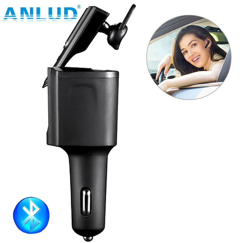 ANLUD Wireless Bluetooth Headset In-ear Handfree Earphone with Car Charger Powered USB Car Charger Headphone for Iphone Samsung
