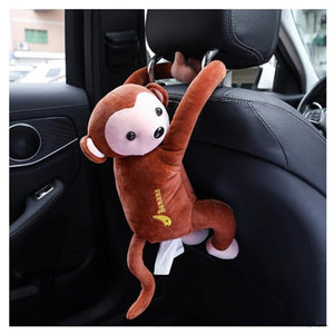 Creative Cartoon Monkey Home Office Car Hanging Paper Napkin Tissue Box Cover Holder Portable Paper Box