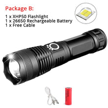 50000LMs Powerful LED Flashlight XHP70 XHP50 Rechargeable USB Zoom Torch XHP70.2 18650 26650 Self Defense Hunting Lamp