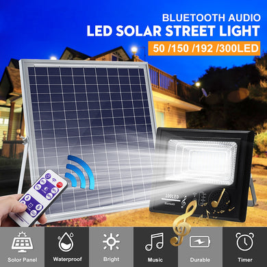50W/100W/200W/300W 50/100/192/300 LED Solar Power Music Flood Light bluetooth Speaker Outdoor Lamp IP67 Waterproof Energy Saving