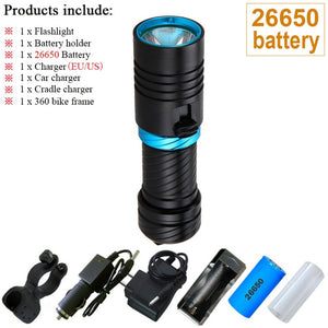 CREE XM-L2 18650 or 26650 Diving flashlight LED Underwater Flashlights Waterproof Portable Lantern Lights dive light Lamp Torch