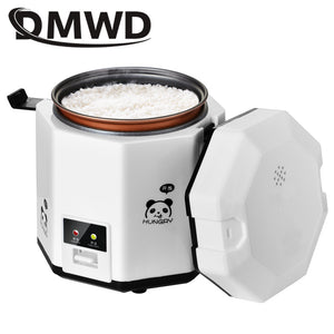 DMWD 1.2L mini rice cooker small 2 layers Steamer Multifunction cooking Pot Electric insulation heating cooker 1-2 people EU US
