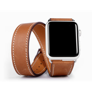 Double Tour band for Apple watch 42mm/38 mm iWatch band 40mm 44 mm Leather strap belt bracelet watchband for Apple watch 4 3 2 1