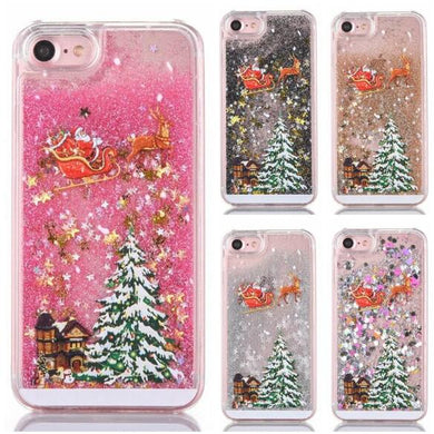 Cartoon Case For iPhone X 7 8 Plus Glitter Powder Christmas Quicksand Phone Cases For iPhone 7 6 6s Plus Hard PC Cover