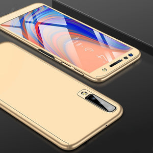 H&A 360 Full Cover Phone Case For Samsung Galaxy A7 A8 J4 J6 J8 PC Protective Cover J4 J6 A7 A8 Plus 2018 Case Cover With Glass