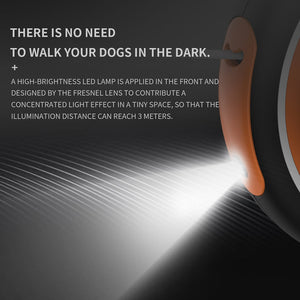 UFO 2 Retractable Dog Leash Ring Led lighting Flexible Pet collar Dog Puppy Traction Rope Belt Length 3m leash